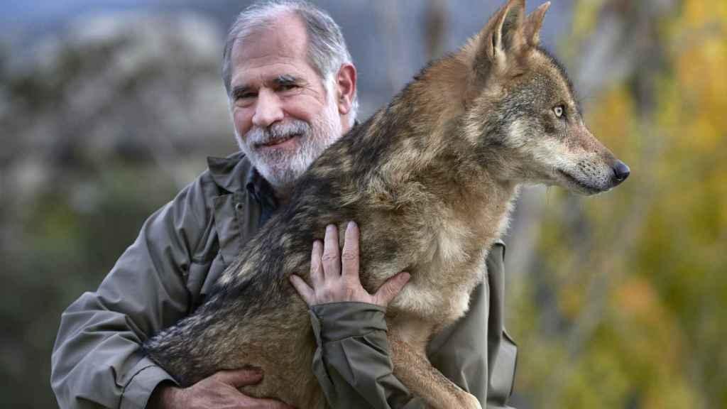 Carlos con la loba Roma en Chapinería.