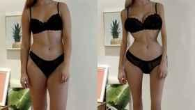 El aspecto de Chessie antes y después del experimento en Instagram.