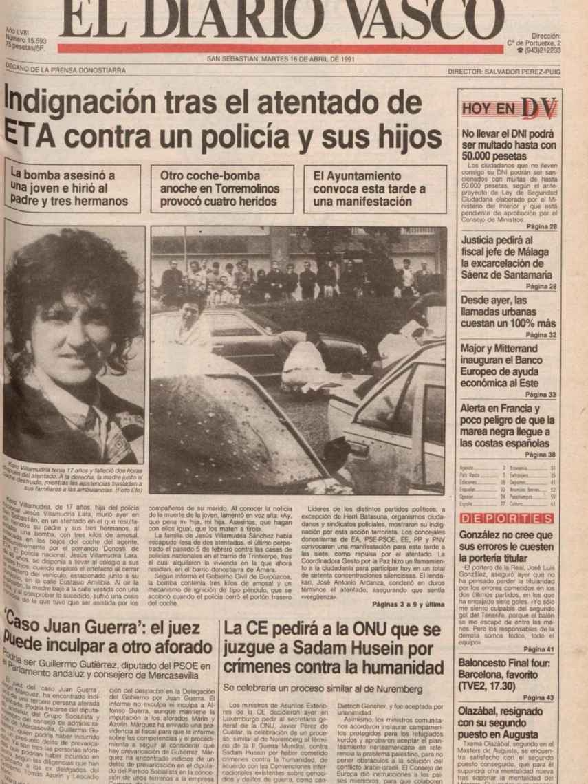 Portada del Diario Vasco tras el atentado contra los Villamudria.