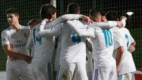 El Real Madrid Castilla celebra un gol en el Estadio Alfredo Di Stéfano.