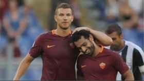 Dzeko y Salah, juntos en la Roma. Foto: asroma.com