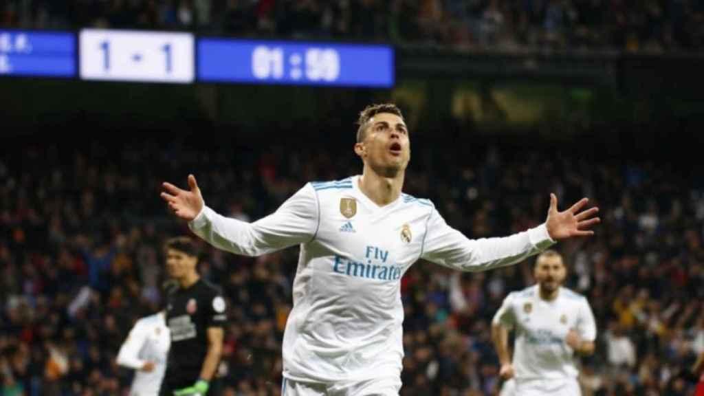 Cristiano celebrando su gol al Girona. Foto: Pedro Rodriguez/El Bernabéu