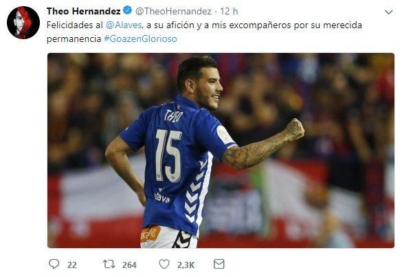 Tuit de Theo felicitando al Alavés por la permanencia
