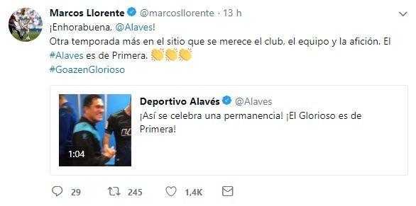 Tuit de Marcos Llorente felicitando al Alavés por la permanencia