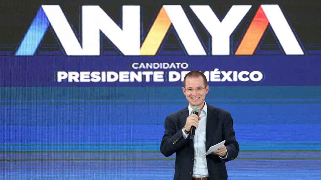Ricardo Anaya durante un mitin electoral