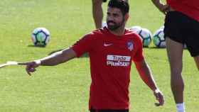 Diego Costa, durante un entrenamientos del Atlético de Madrid.