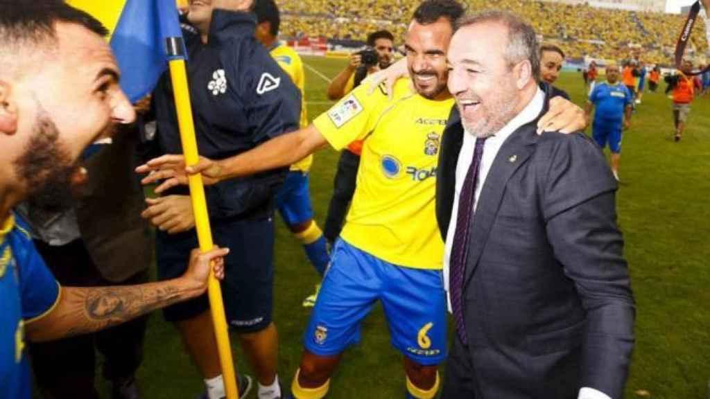 Miguel Ángel Ramírez celebra el último ascenso de Las Palmas