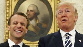 Macron y Trump bromean en el Despacho Oval.