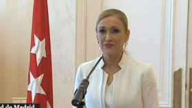 Cristina Cifuentes, durante su dimisión.