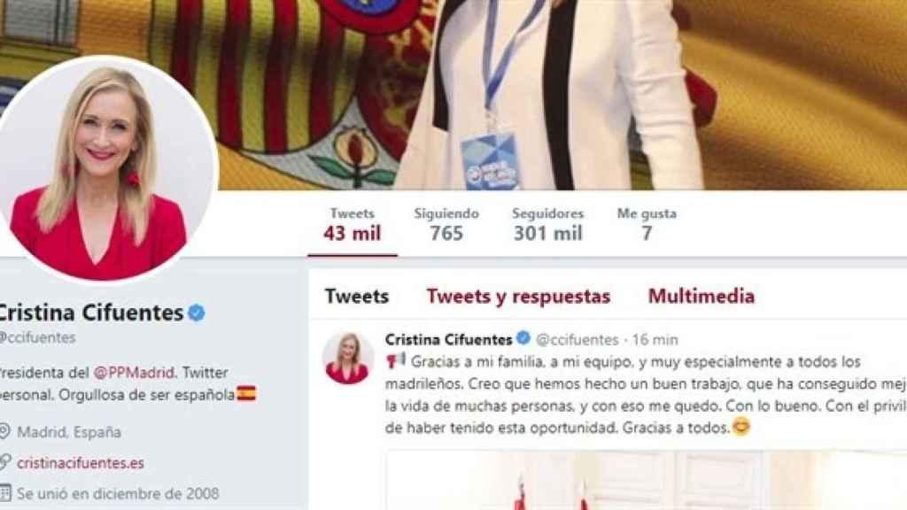 El perfil de Twitter de Cristina Cifuentes.