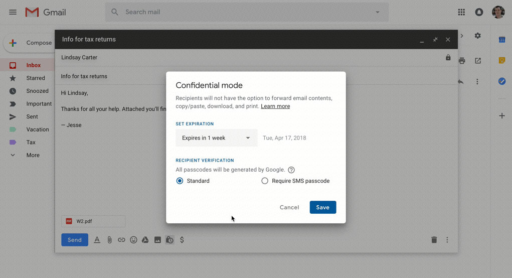 modo confidencial correo electronico que se autodestruye nuevo gmail