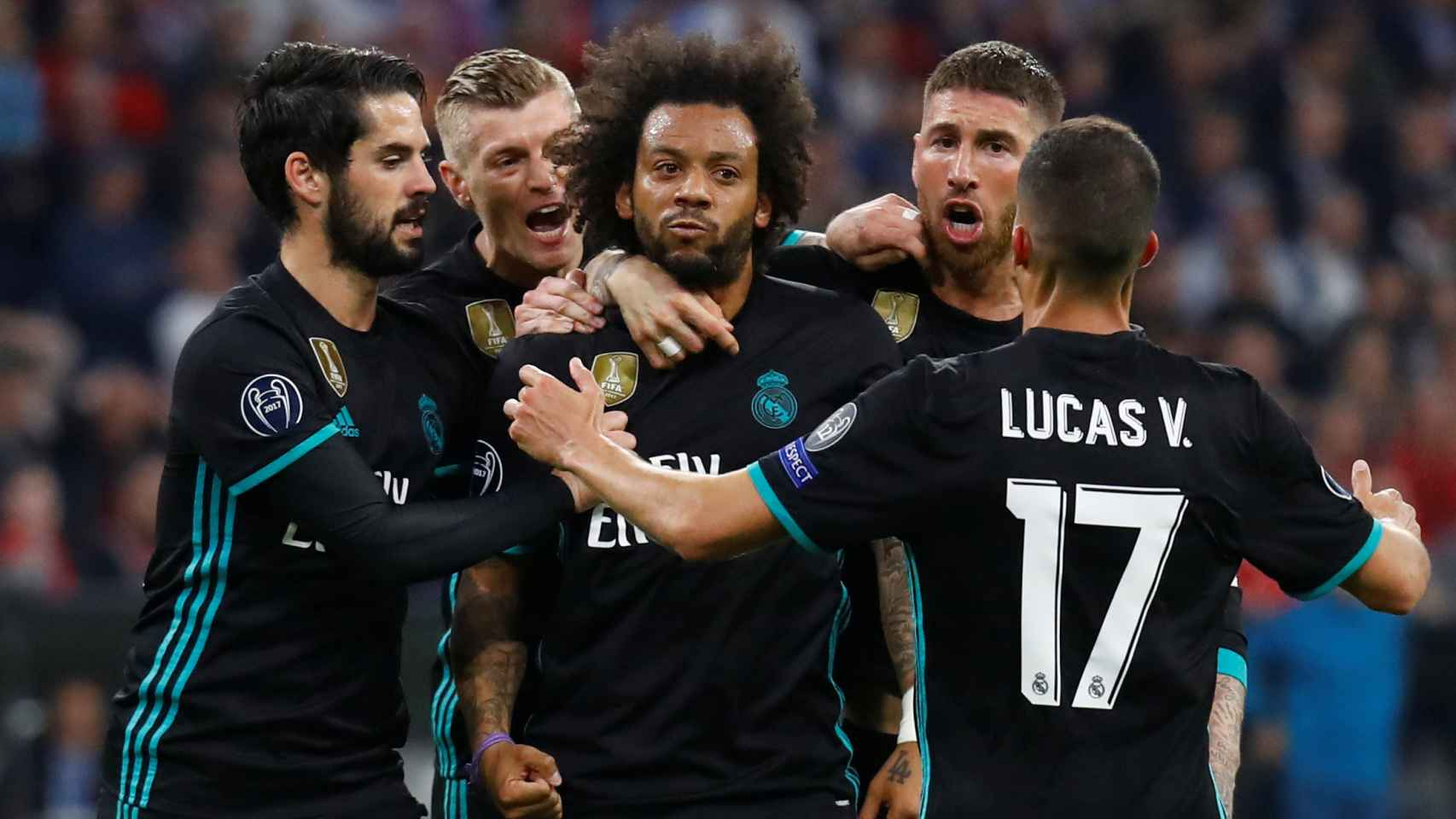 Marcelo celebró con furia el gol del empate después de que el 1-0 llegará por su banda. / Reuters
