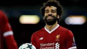 Mohamed Salah, en un partido de Champions League con el Liverpool. Foto: liverpoolfc.com