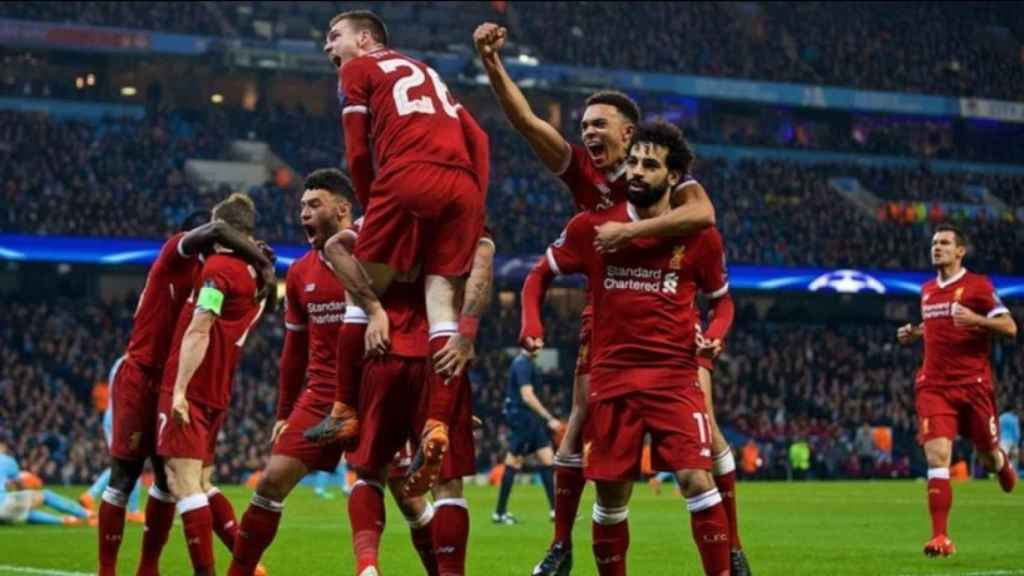 Celebración del Liverpool en el partido contra el City. Foto: liverpoolfc.com
