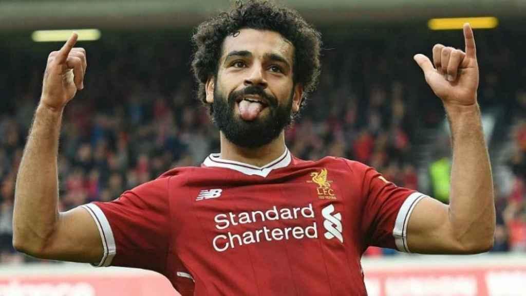 Salah celebra un tanto para el Liverpool. Foto: liverpoolfc.com