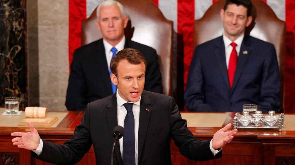 Macron, durante su discurso en el Congreso de EEUU.