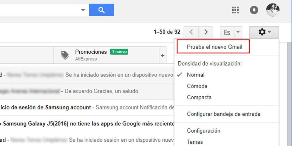 probar nuevo diseño gmail