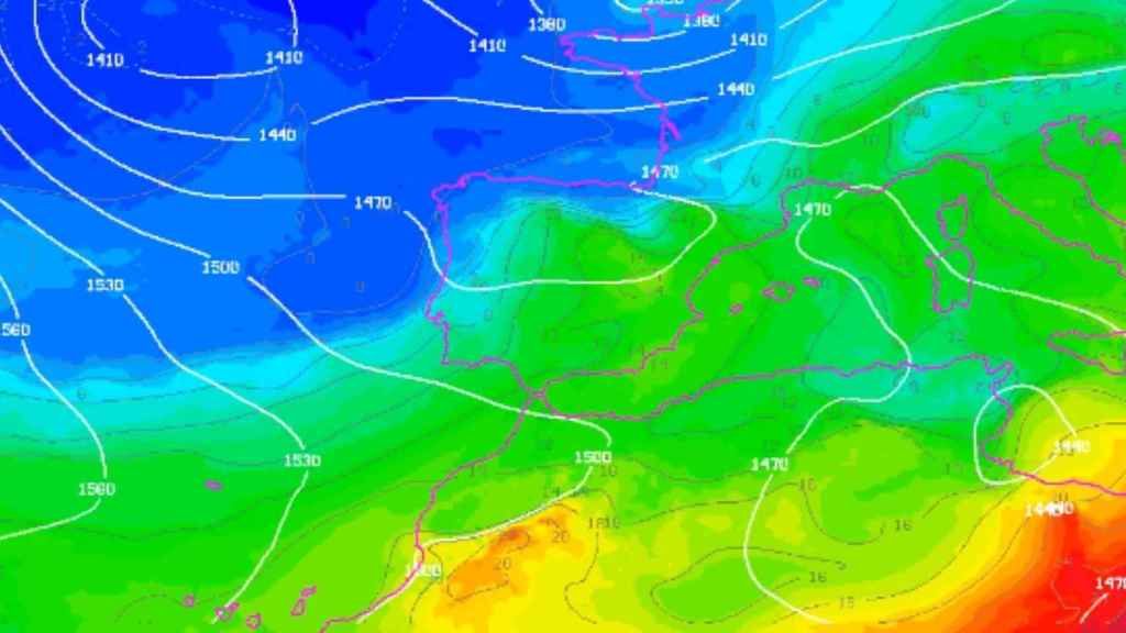 La masa de aire frío que cruzará España a partir de este viernes.