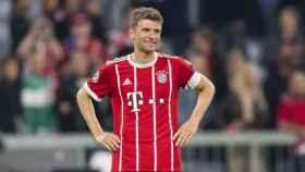 Müller durante el partido contra el Real Madrid en la Champions League. Foto: Twitter (@FCBayernES)