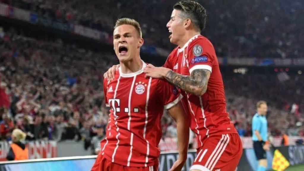 Kimmich celebra su gol ante el Real Madrid con James. Foto: fcbayern.com