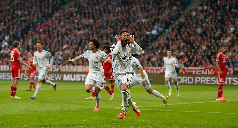 Sergio Ramos celebra uno de sus goles en Münich.