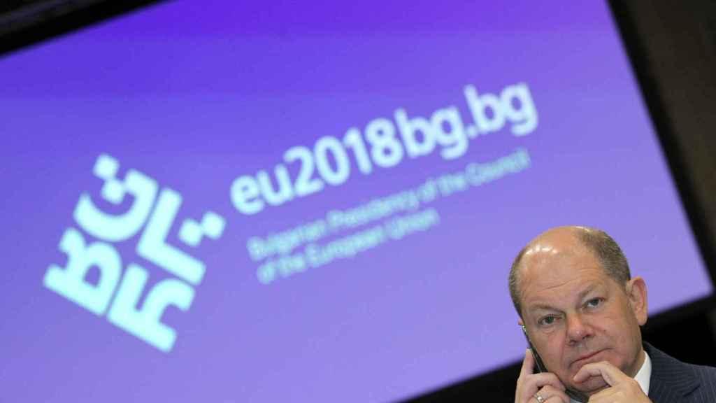 El nuevo ministro alemán de Finanzas, Olaf Scholz, durante el Eurogrupo