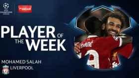 Salah, mejor jugador de la semana de la Champions League. Foto: Twitter: (@ChampionsLeague)