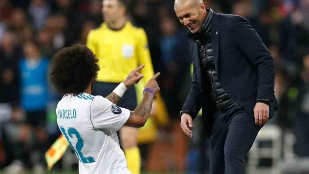 Marcelo celebra su gol al PSG con Zidane