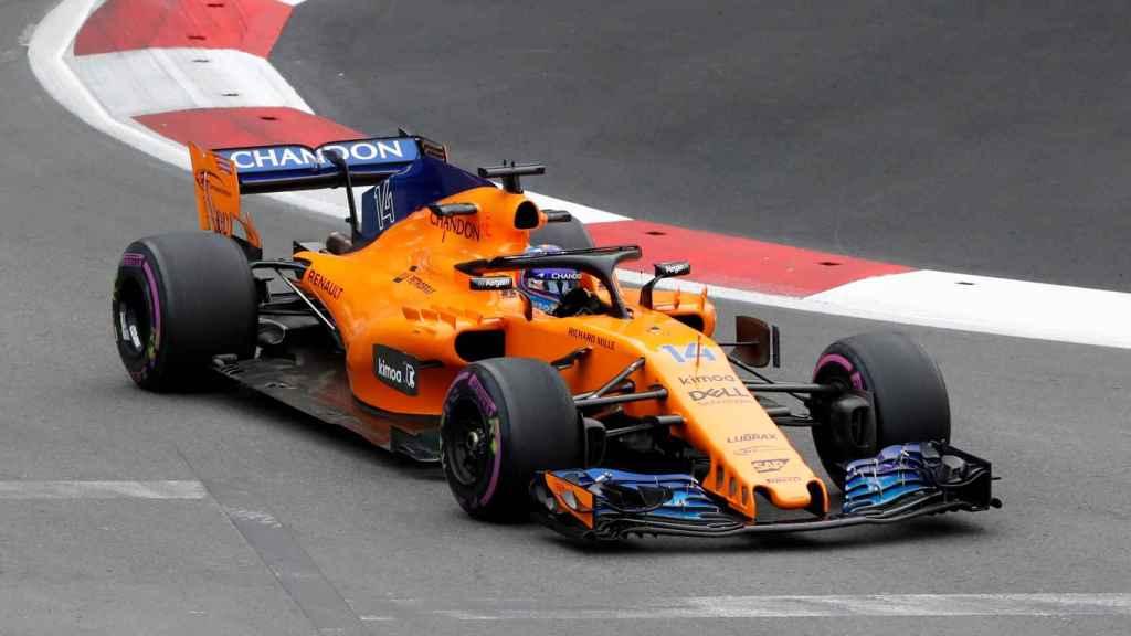 Fernando Alonso, durante el GP de Azerbaiyán.
