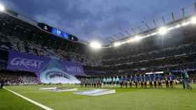 Tifo en el Santiago Bernabéu en la Champions League