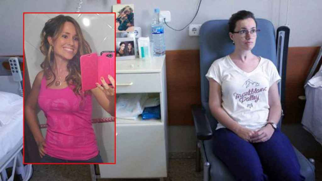 Marta, a la izquierda, antes de la paliza. A la derecha durante su hospitalización