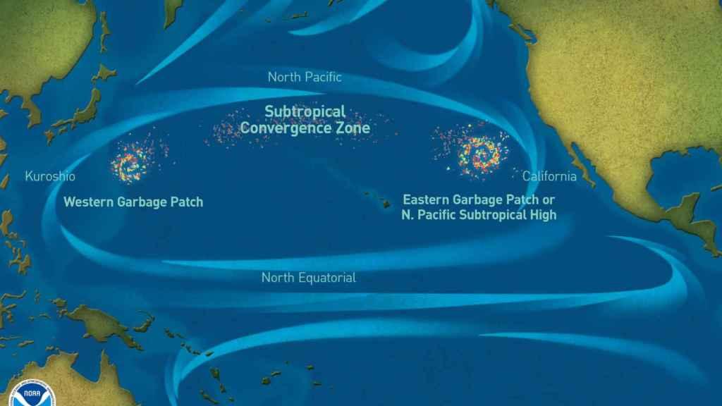 Mapa de la Isla de Basura del Pacífico.