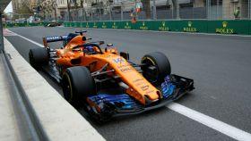 Fernando Alonso en el Gran Premio de Azerbaiyán.