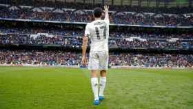 Arbeloa, durante su despedida del Bernabéu