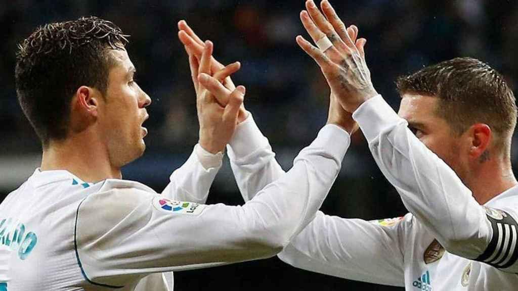 Cristiano Ronaldo y Sergio Ramos celebran un gol del Real Madrid