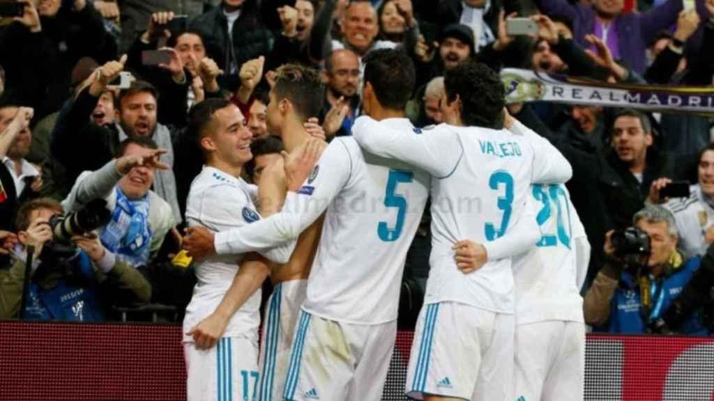 Los jugadores del Real Madrid celebran el pase a semifinales