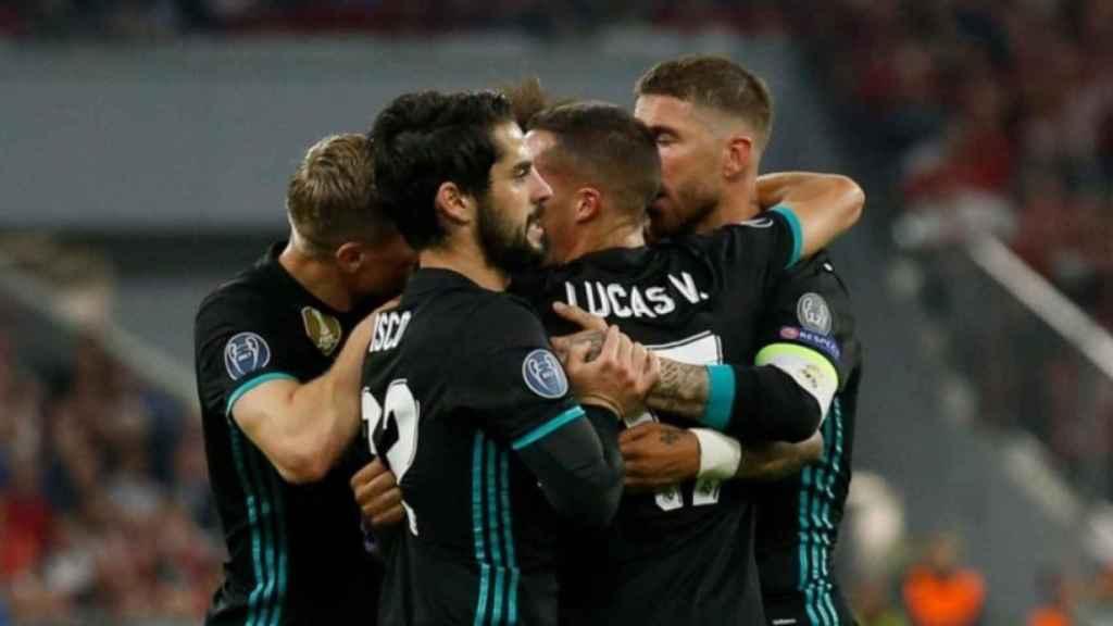 Celebración del gol de Marcelo en el Allianz Arena