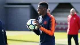 Dembélé se entrena con el Barça. Foto fcbarcelona.es