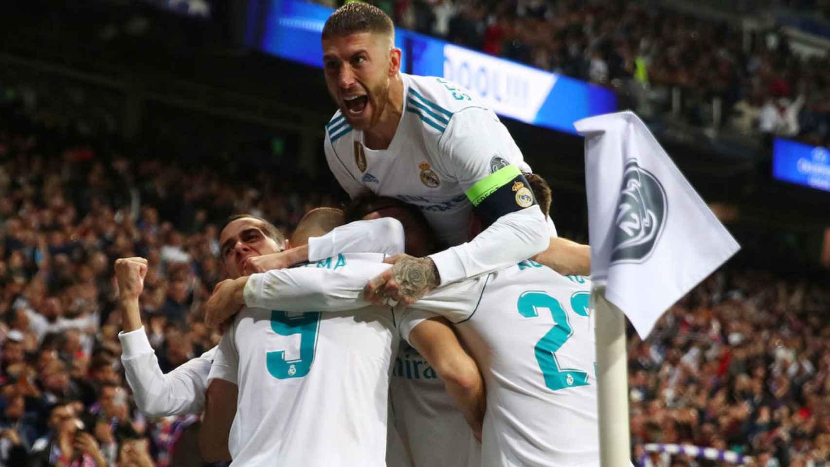 Sergio Ramos celebra el pase del Madrid a la final.