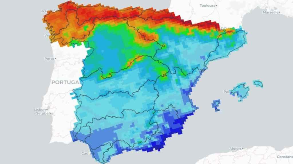 En azul, cuencas que recibirán menos de 40 días de lluvia al año en el futuro lejano.