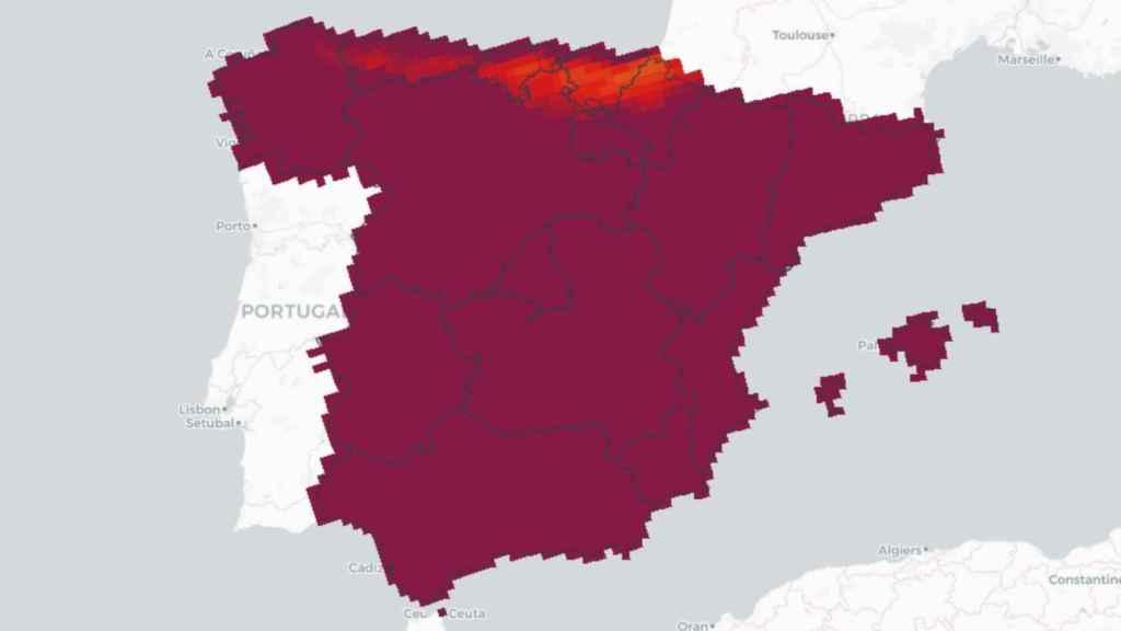En rojo, las zonas en las que para 2050 las olas de calor durarán menos de 15 días.