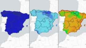 Días de calor distribuidos por el territorio en un futuro cercano, a medio plazo y a finales de siglo.