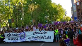 Cabecera de la manifestación contra la sentencia de 'La Manada', a la altura del paseo del Prado.