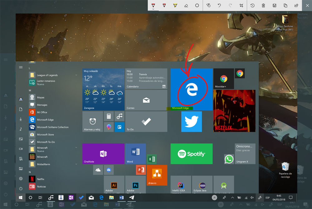 windows ink workspace screen sketch captura de pantalla windows 10 reducida