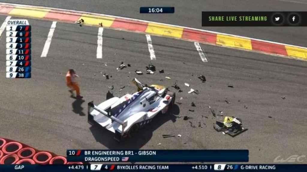 Momento del accidente de Pietro Fittipaldi en las 6 Horas de Spa.