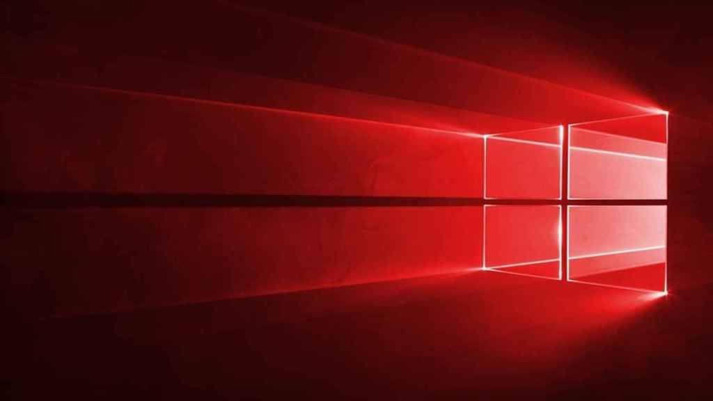 Windows 10 en rojo.