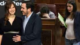 Alberto Garzón y Anna Ruiz y Pablo Iglesias e Irene Montero, en un montaje de JALEOS.
