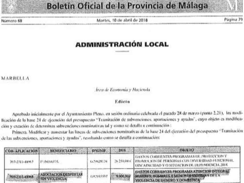 Edicto del Boletín Oficial de la Provincia de Málaga que refleja la concesión de la subvención.