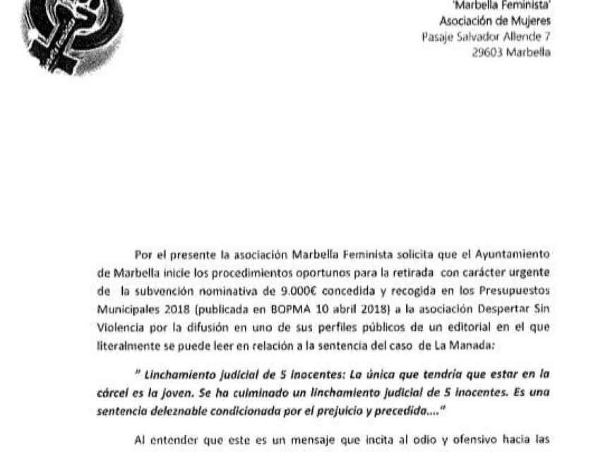 La denuncia de Marbella Feminista.
