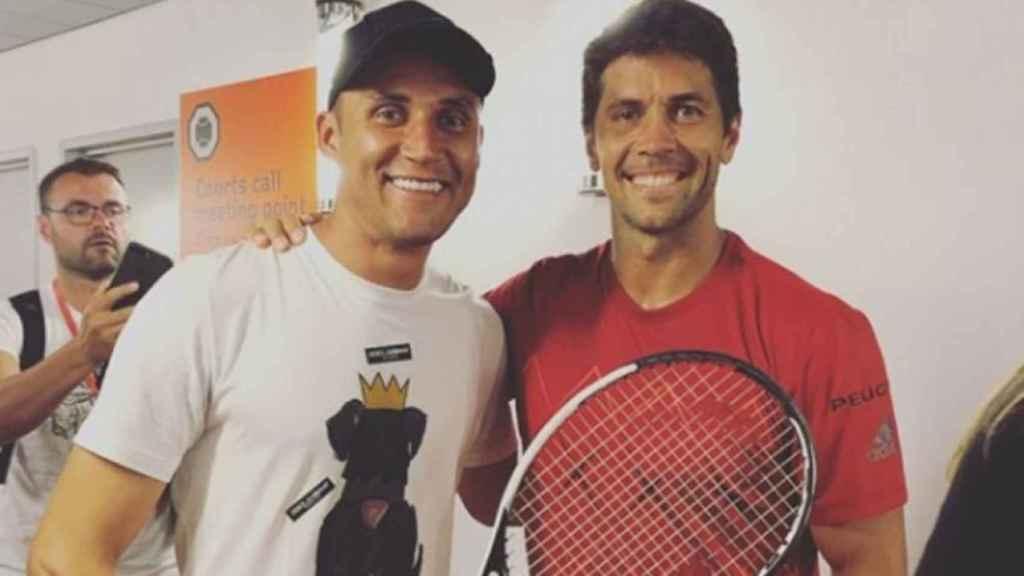 Keylor Navas junto al tenista Fernando Verdasco. Foto: Instagram (@keylornavas1)